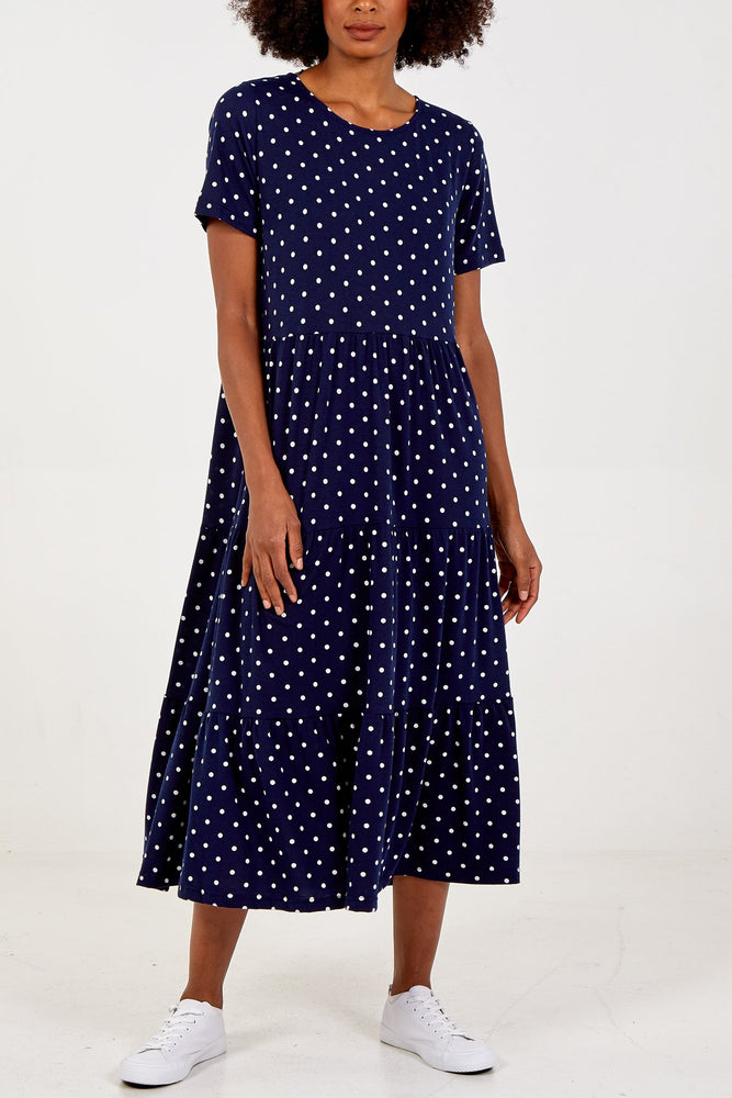 Polka Dot Tiered Smock Dress -  Luna Boutiques