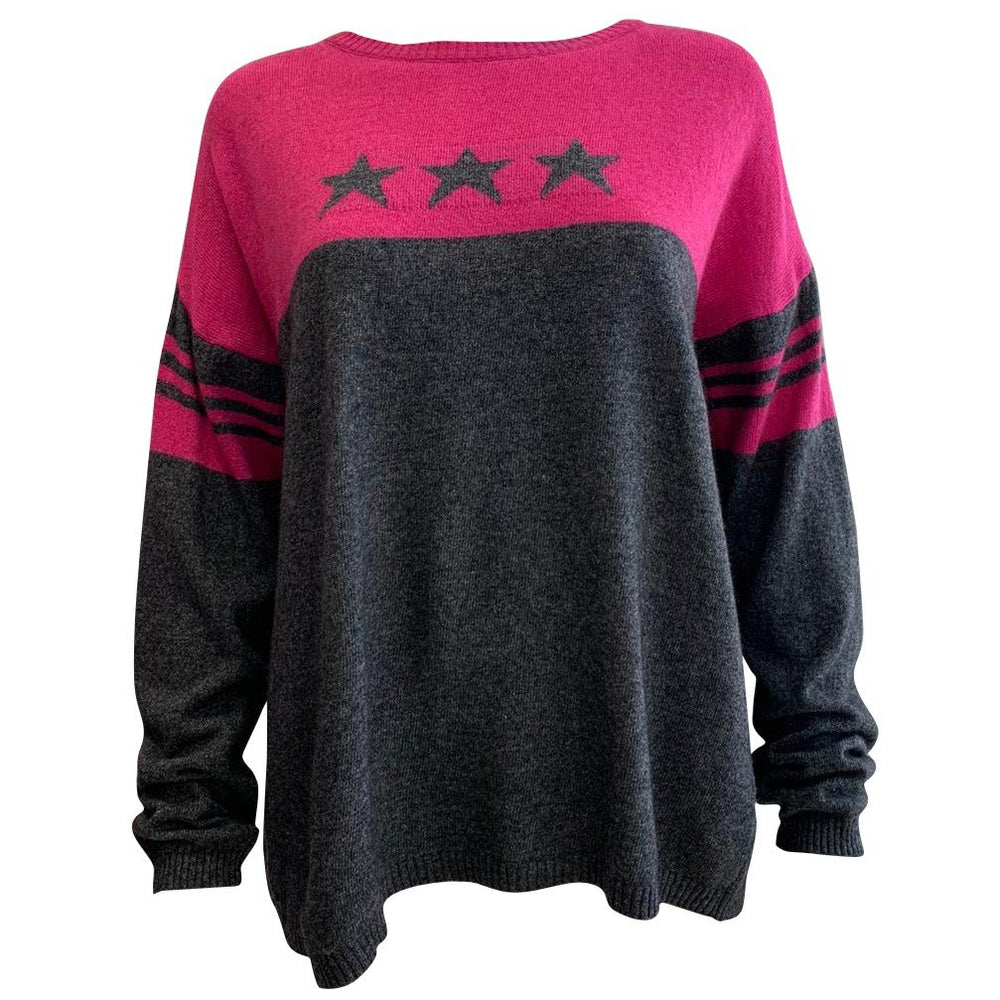 50% Cashmere Mix Block Star Jumper -  Luna Boutiques