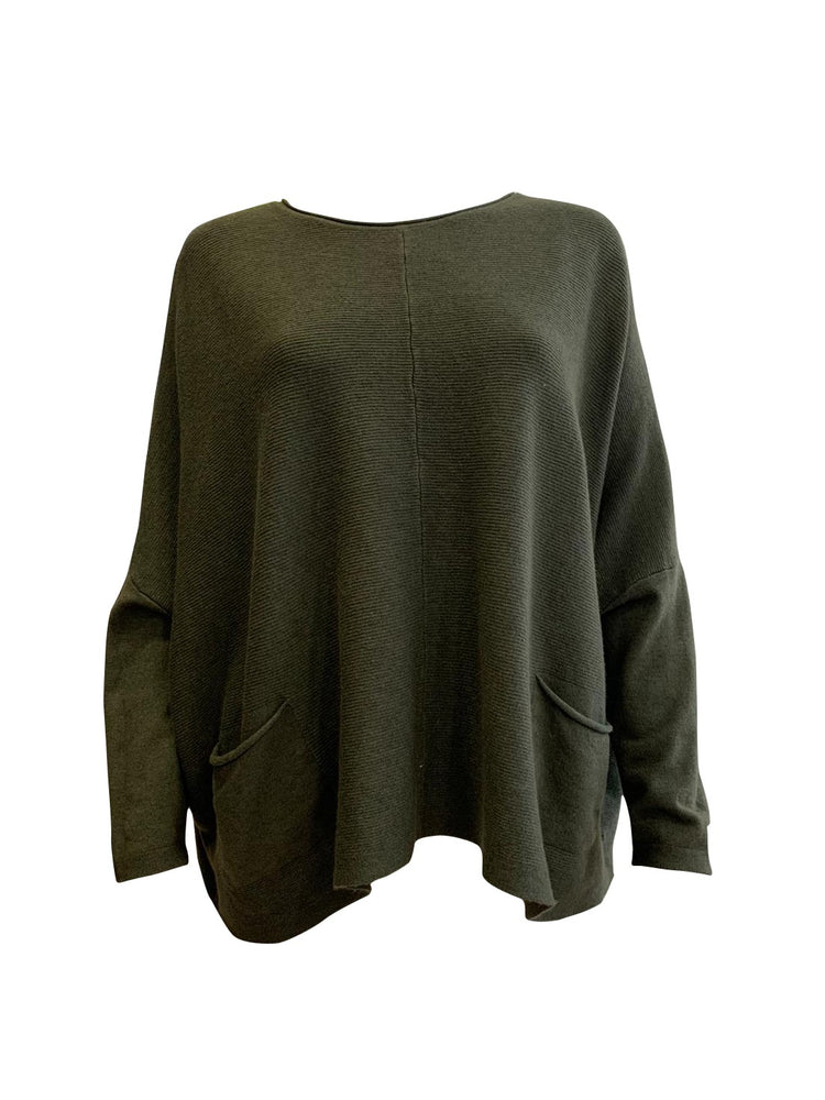 Ribbed Batwing Pocket Jumper -  Luna Boutiques
