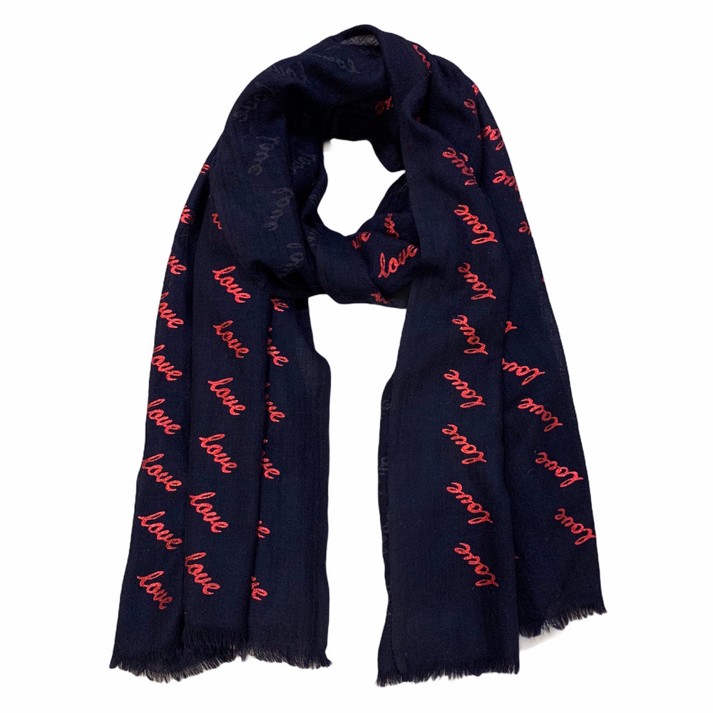 Load image into Gallery viewer, Navy Love Cashmere Scarf -  Luna Boutiques