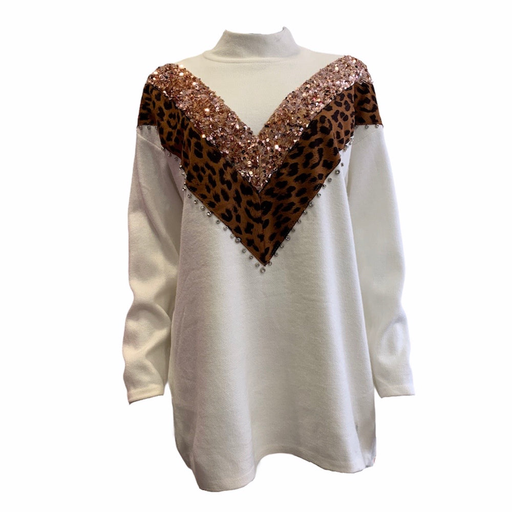 Load image into Gallery viewer, Sequin Animal Chevron Jumper -  Luna Boutiques