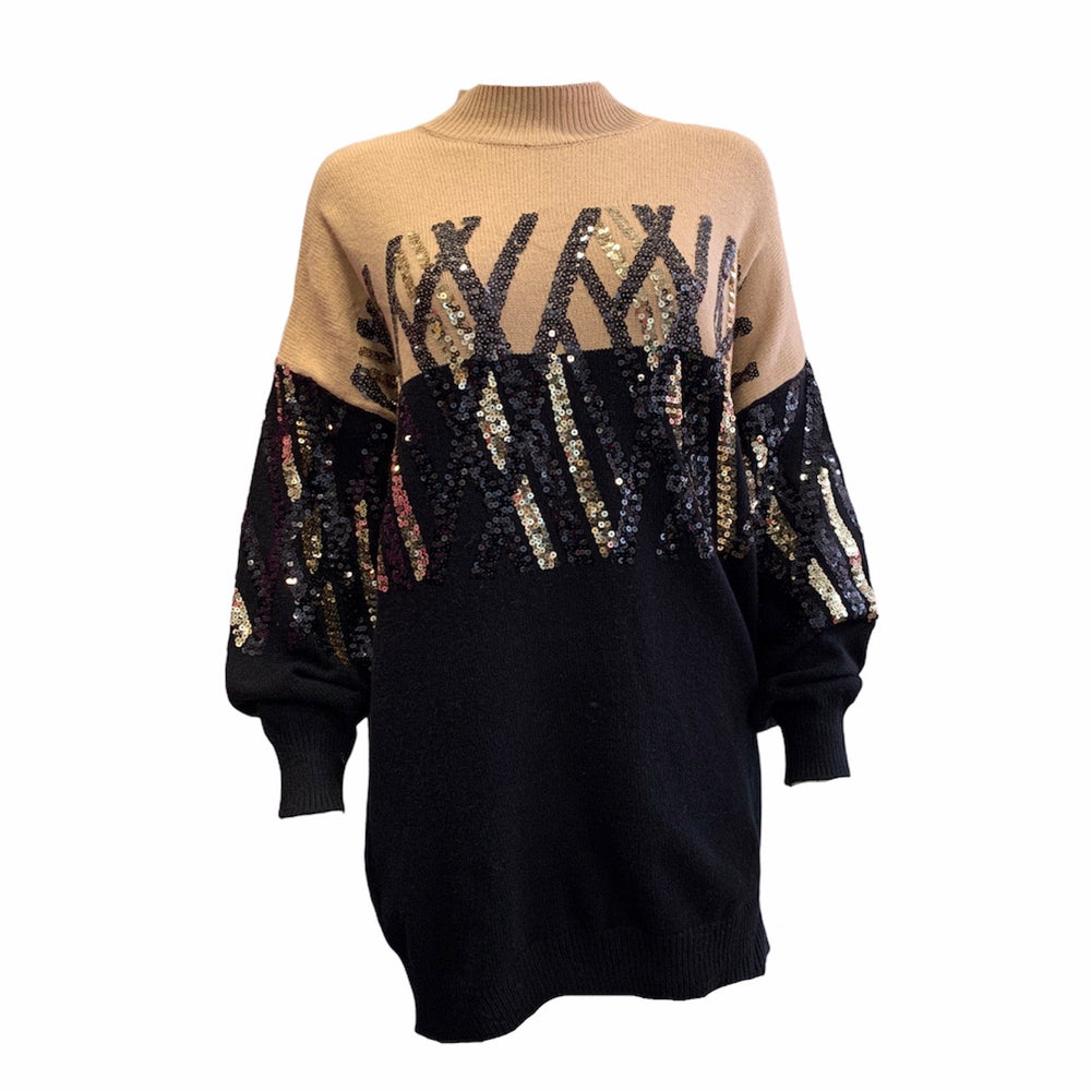 Sequin Cross Design Jumper -  Luna Boutiques