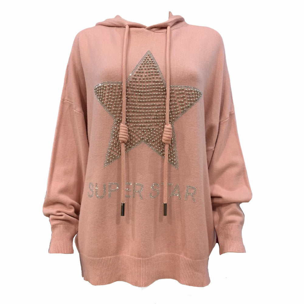 Load image into Gallery viewer, Silver Sparkle Superstar Knit Hoodie -  Luna Boutiques