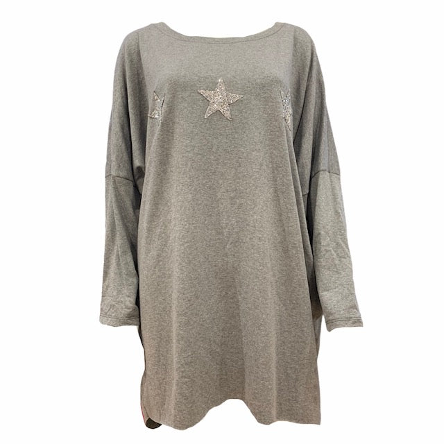 Three Star Sparkle Long Top -  Luna Boutiques
