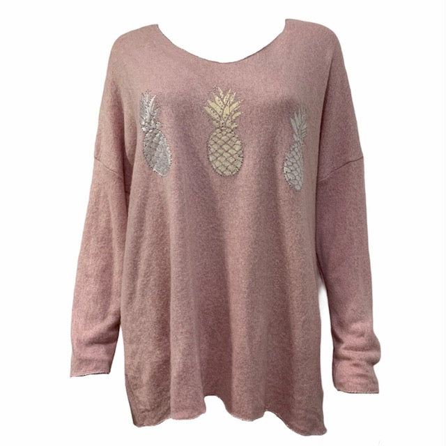 Load image into Gallery viewer, Silver Pineapple Soft Touch Jumper -  Luna Boutiques