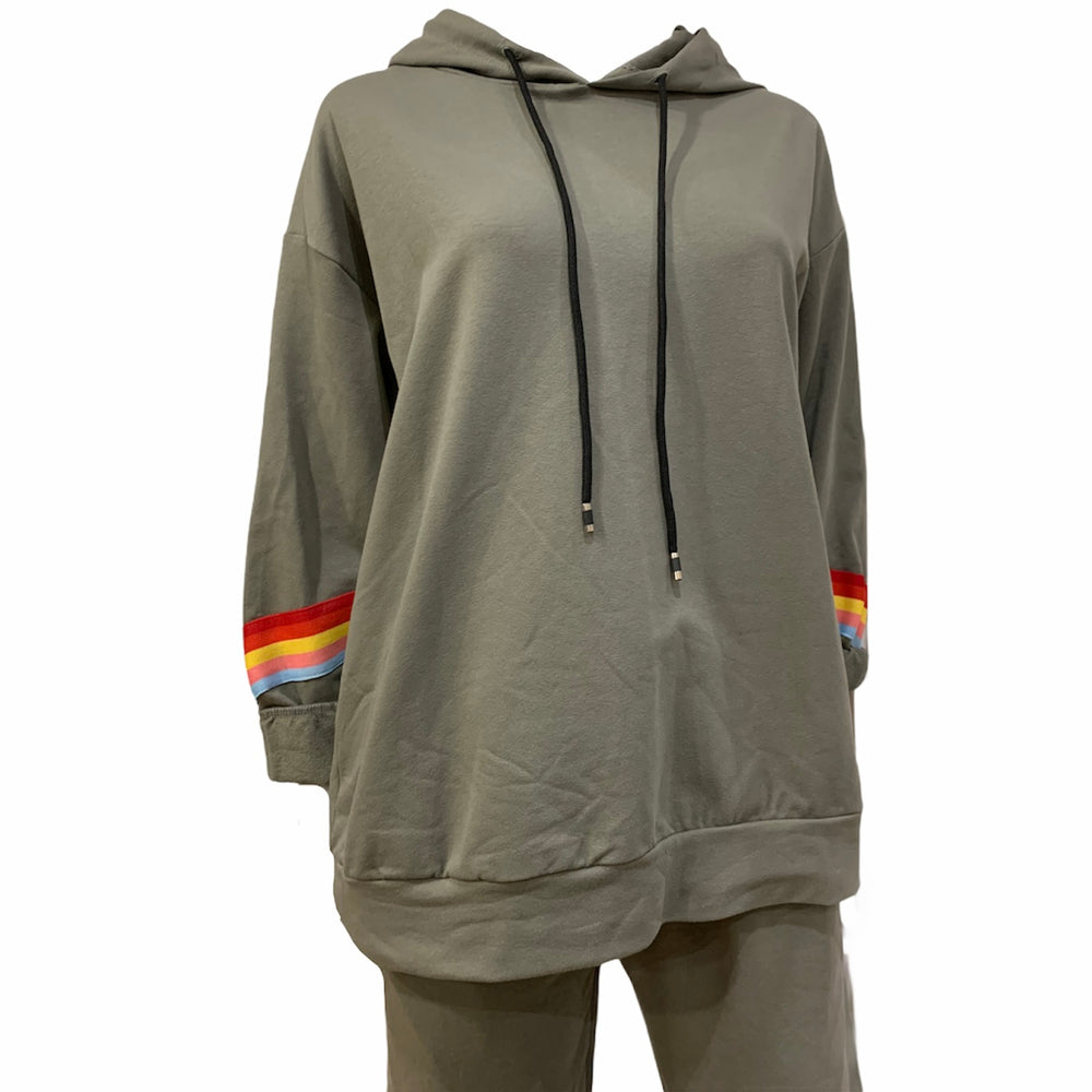 Load image into Gallery viewer, Rainbow Stripe Cuff Tracksuit -  Luna Boutiques