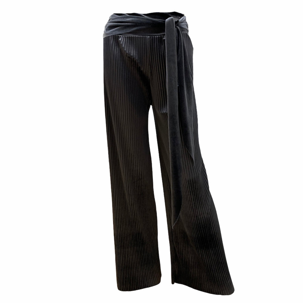 Pleated Velvet Palazzo Trousers -  Luna Boutiques