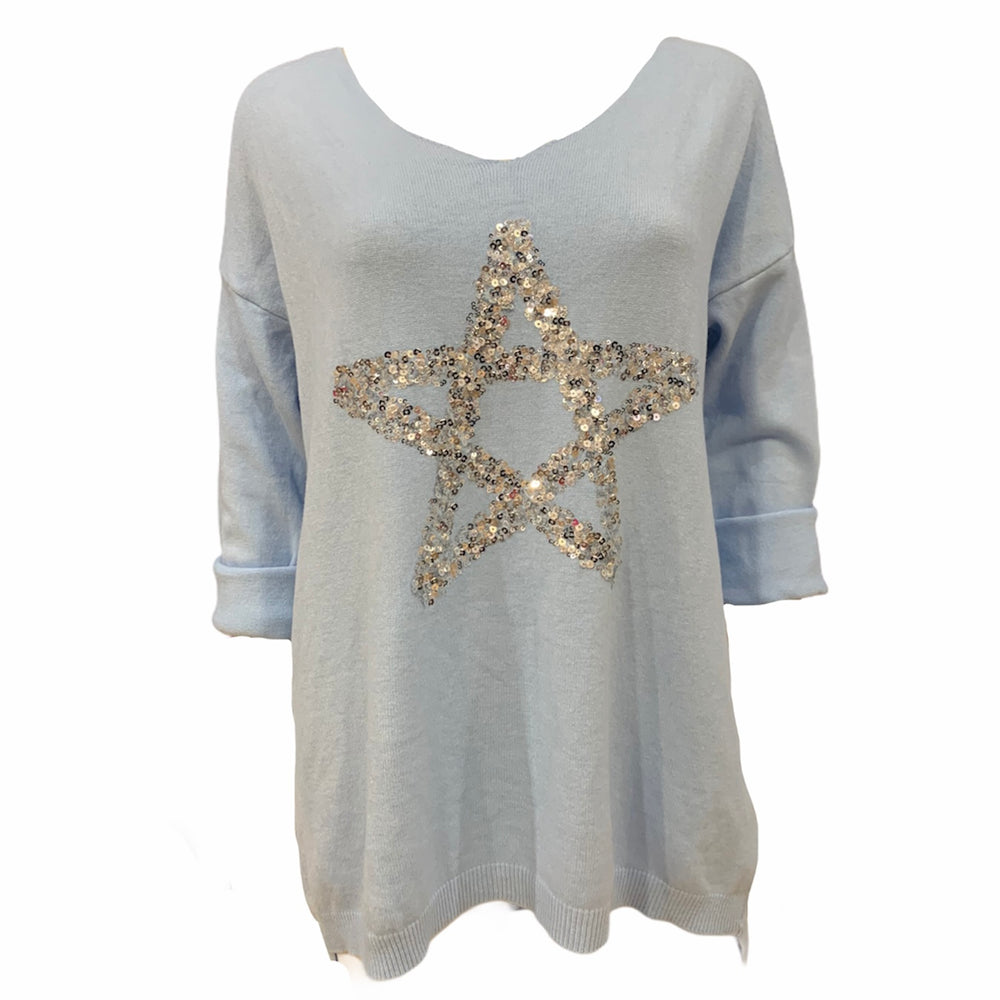 Load image into Gallery viewer, Sequin Star Knit Jumper -  Luna Boutiques