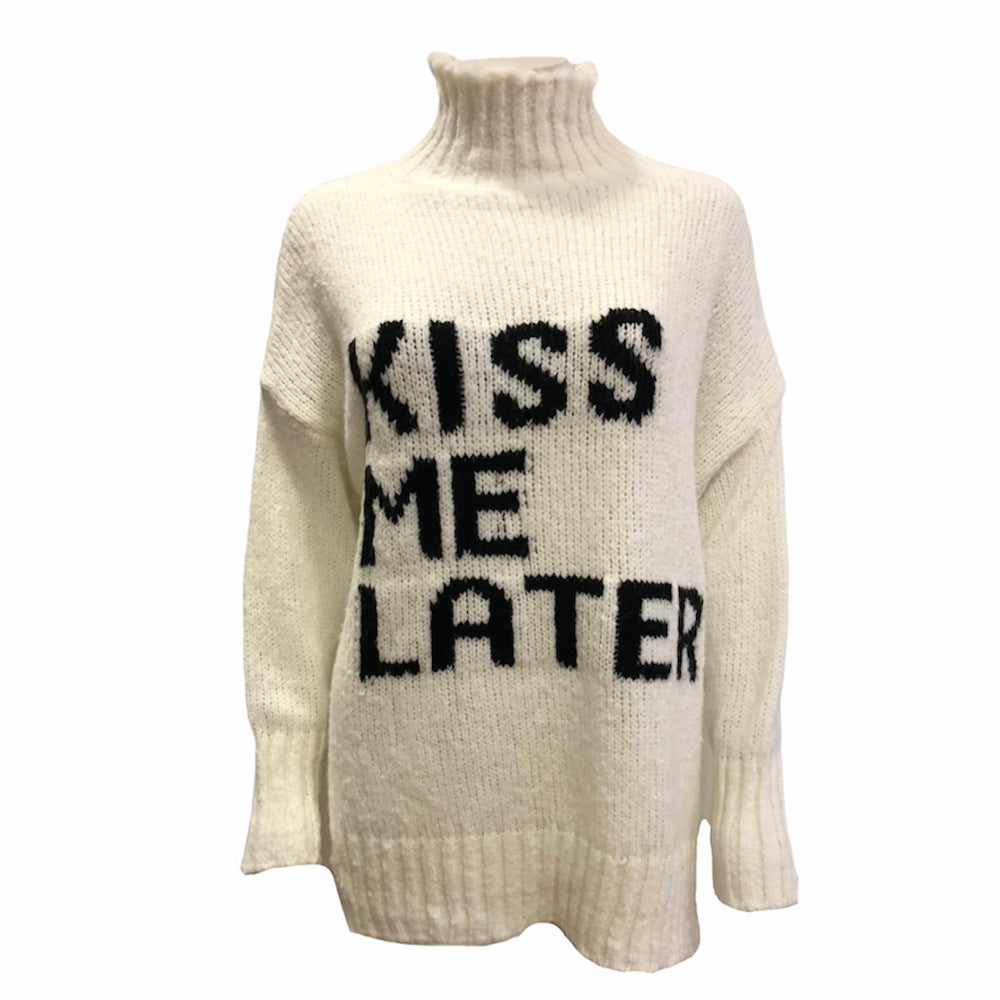 'KISS ME LATER' Roll Neck Jumper -  Luna Boutiques
