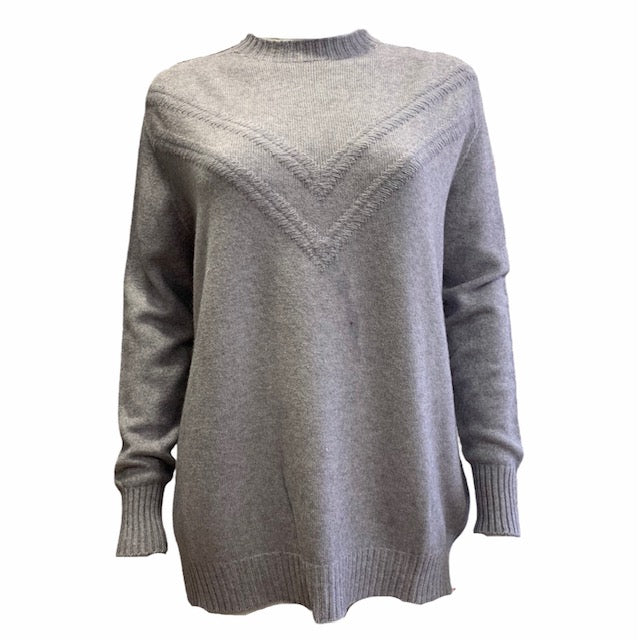 Chevron High Neck Knit Jumper -  Luna Boutiques