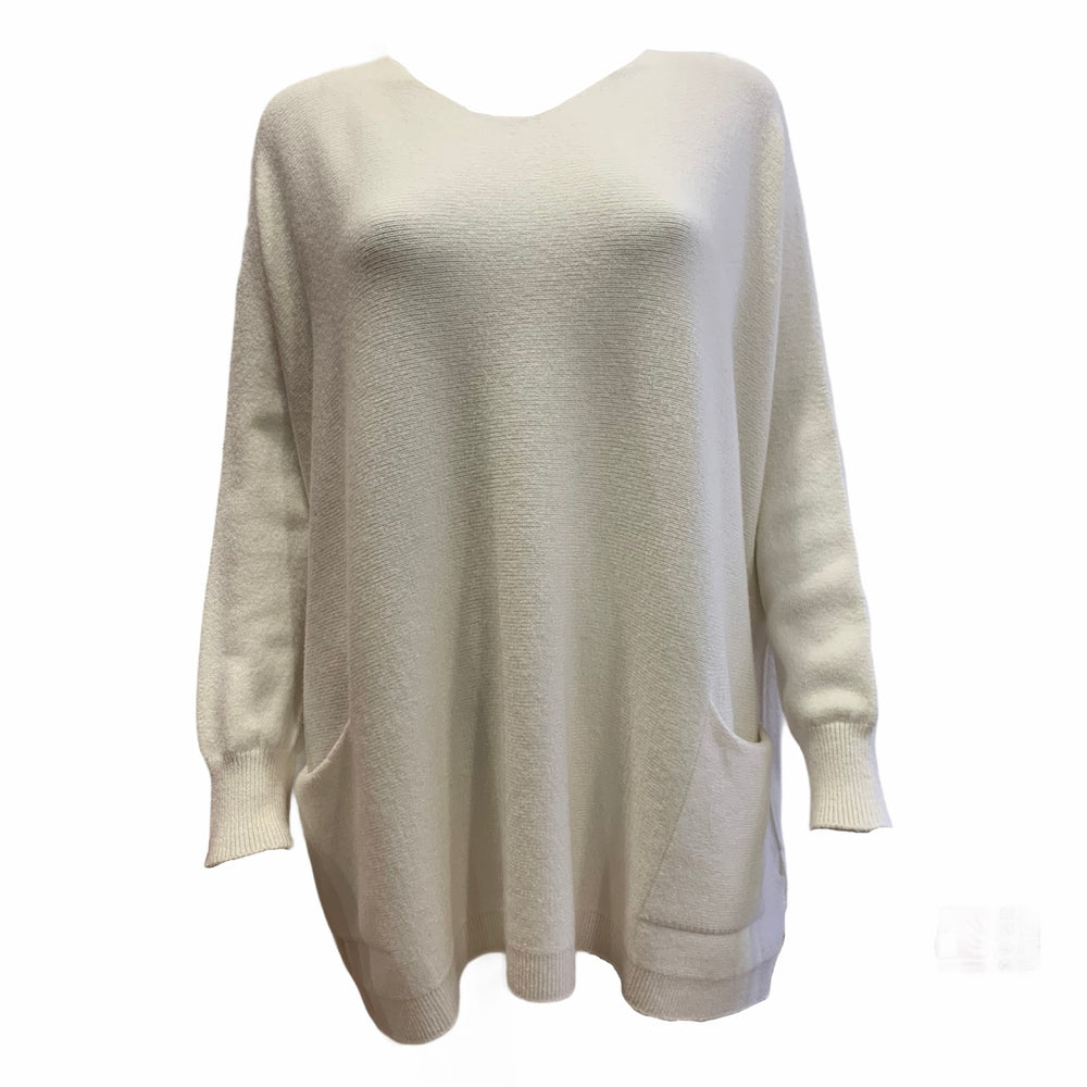 V Neck Knit With Front Pockets -  Luna Boutiques