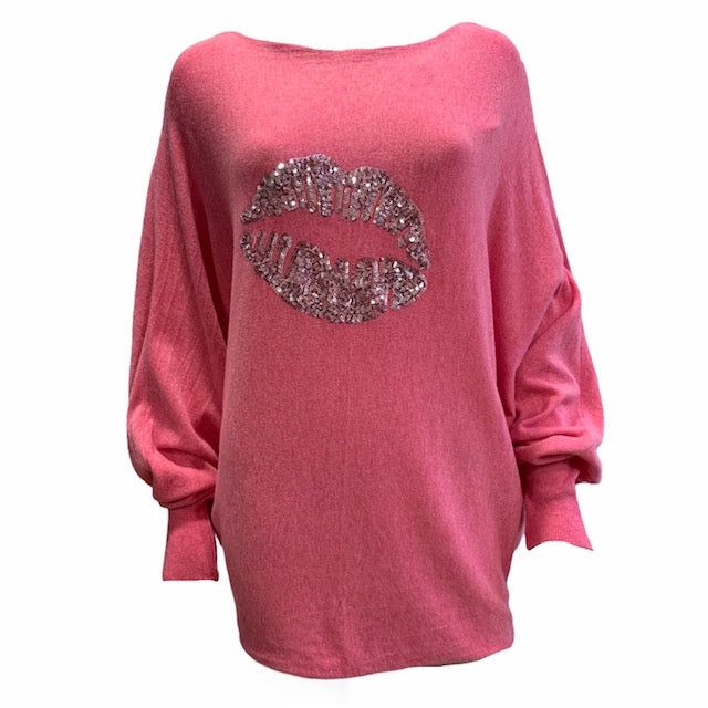 Load image into Gallery viewer, Sequin Lips Batwing Jumper -  Luna Boutiques