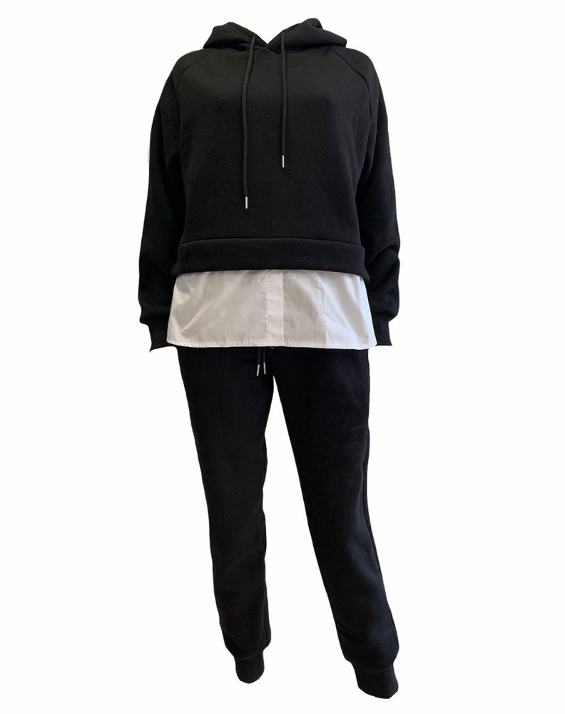 Black Hooded Layered Shirt Tracksuit Set -  Luna Boutiques