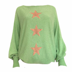 Vertical Three Star Batwing Jumper -  Luna Boutiques