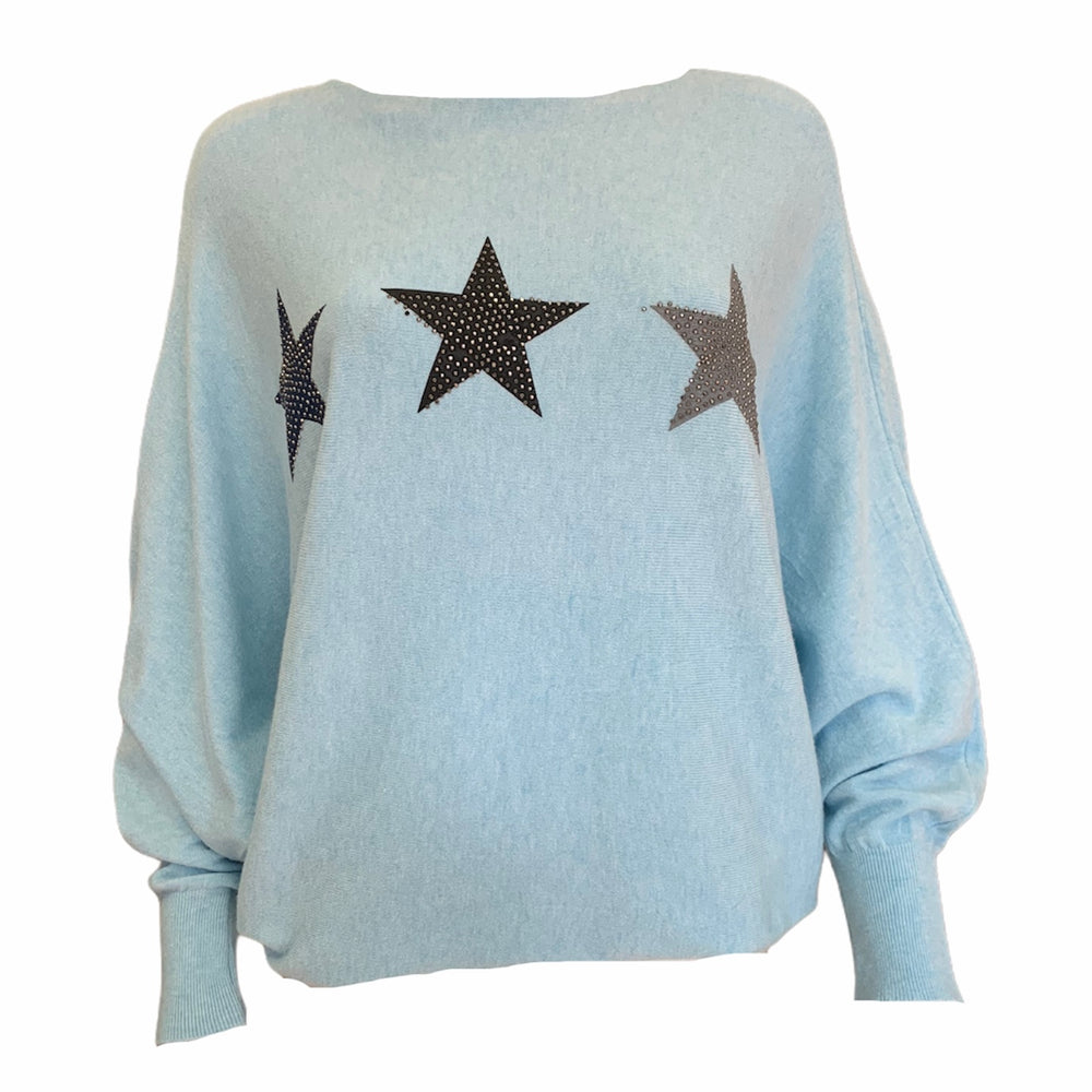 Load image into Gallery viewer, Three Star Batwing Jumper -  Luna Boutiques