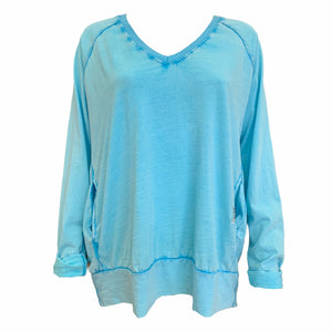 Washed V Neck Glitter Star Top -  Luna Boutiques
