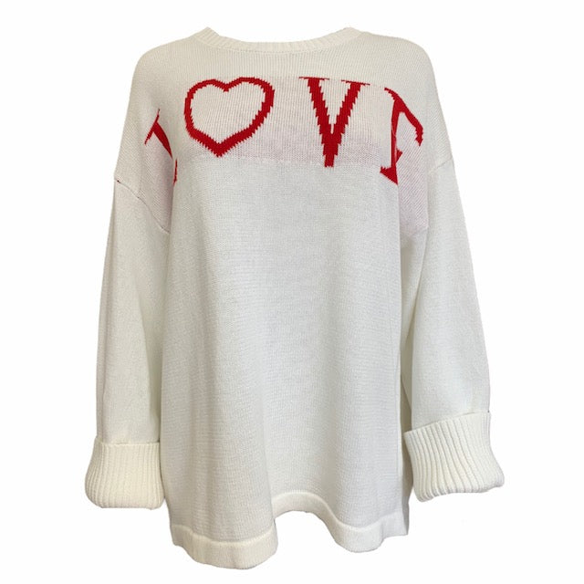 Wide Sleeve Round Neck LOVE Knit -  Luna Boutiques