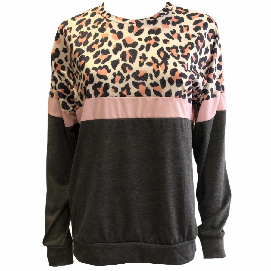 Leopard Block Long Sleeve T-Shirt -  Luna Boutiques