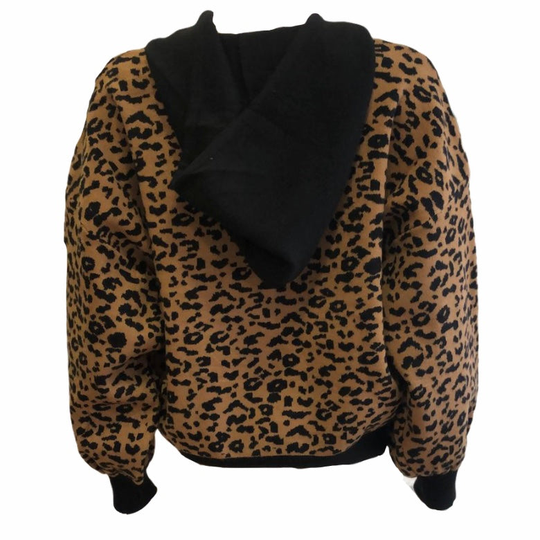 Load image into Gallery viewer, Leopard & Black Hoodie -  Luna Boutiques