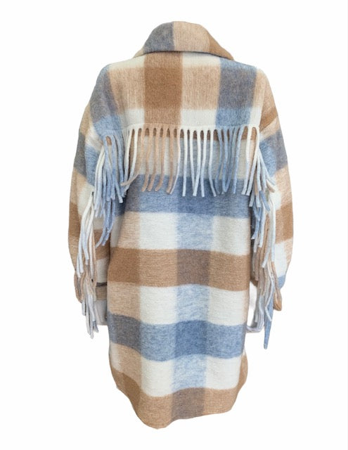 Load image into Gallery viewer, Fringe Back Check Shirt Jacket -  Luna Boutiques