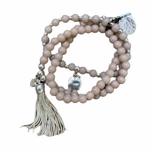 Load image into Gallery viewer, Pink Beaded Charm & Tassle Bracelet -  Luna Boutiques