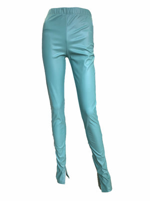 Load image into Gallery viewer, PU Long Length Slit Leggings -  Luna Boutiques