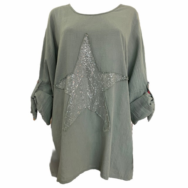 Sequin Star Top With Roll Button Sleeve -  Luna Boutiques