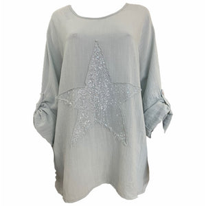 Load image into Gallery viewer, Sequin Star Top With Roll Button Sleeve -  Luna Boutiques