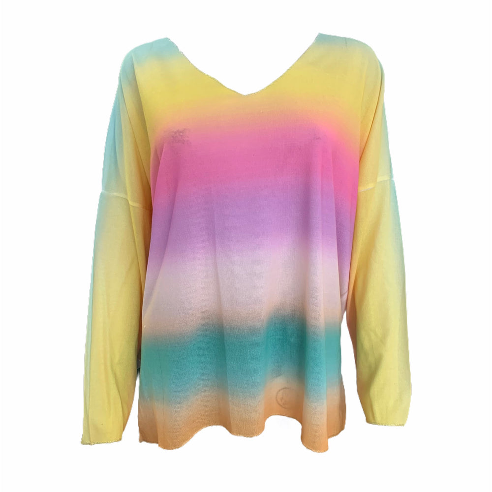 Load image into Gallery viewer, Ombre Rainbow V Neck Top -  Luna Boutiques