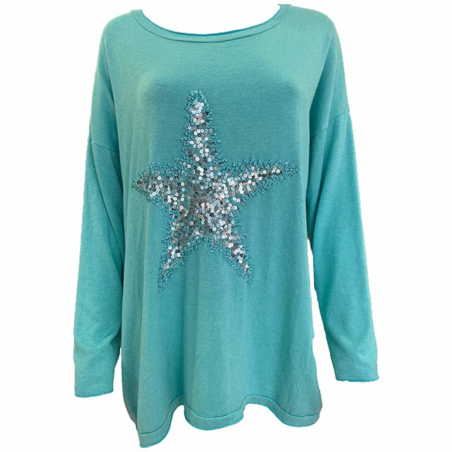 Soft Long Sleeve Sequin Star Top -  Luna Boutiques