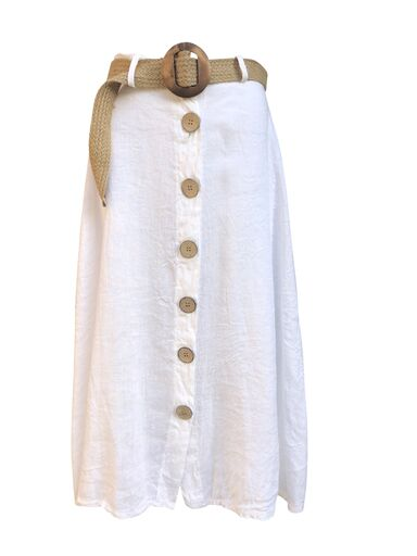 Linen skirt with wooden buttons -  Luna Boutiques