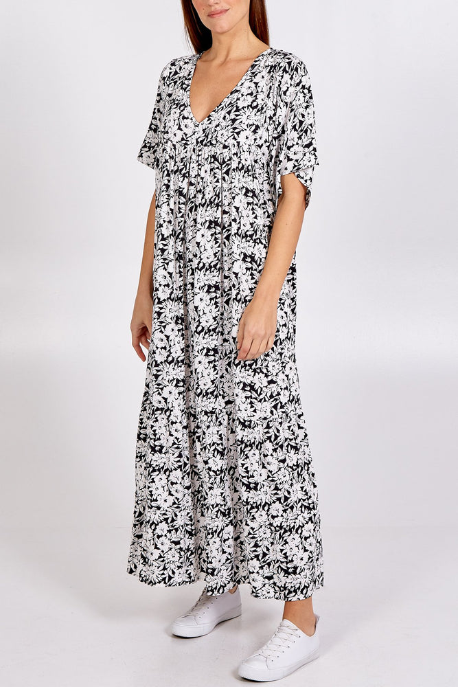 Printed Sheer Midi Dress -  Luna Boutiques