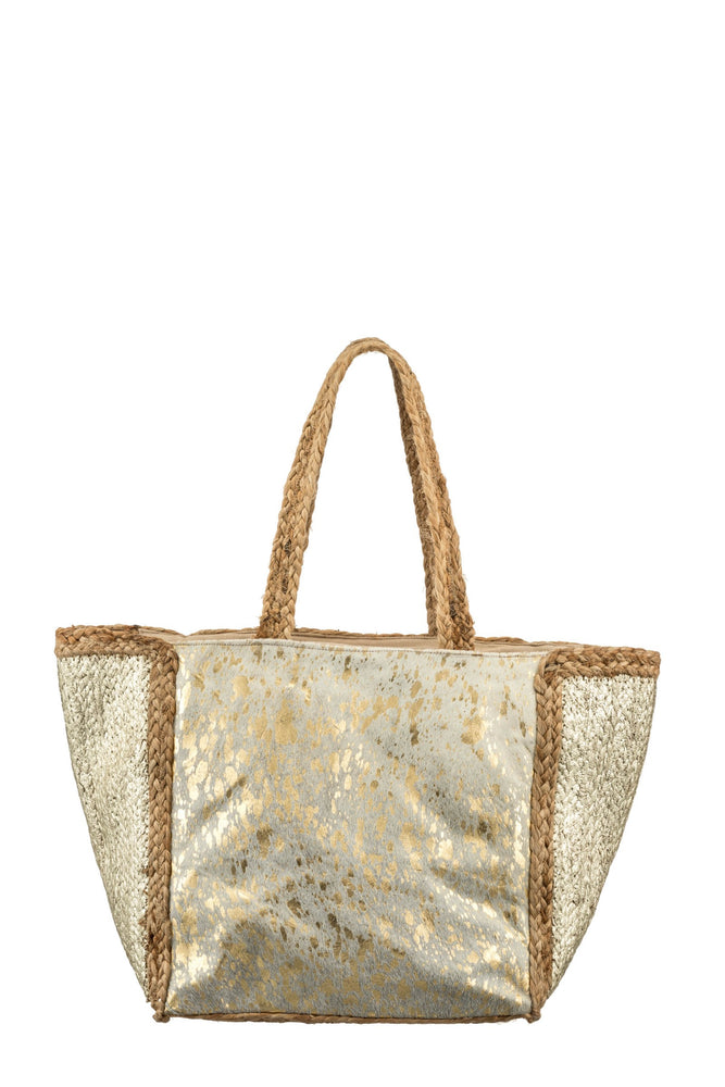 Metallic & Pony Hair Large Bag -  Luna Boutiques