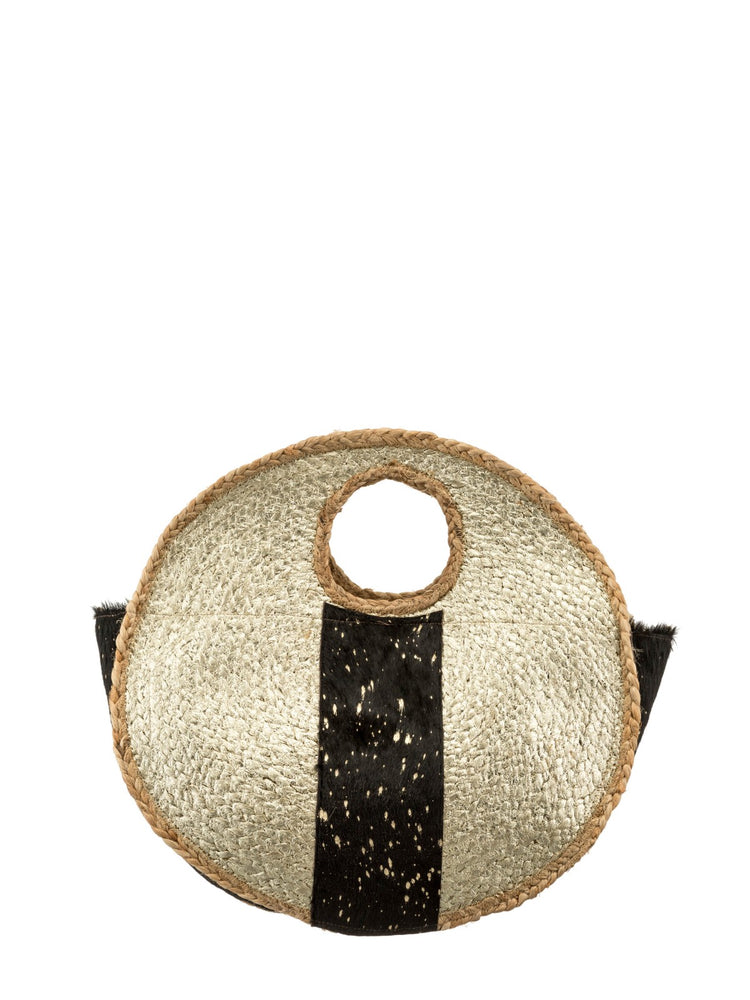 Metallic Pony Circle Basket Bag -  Luna Boutiques