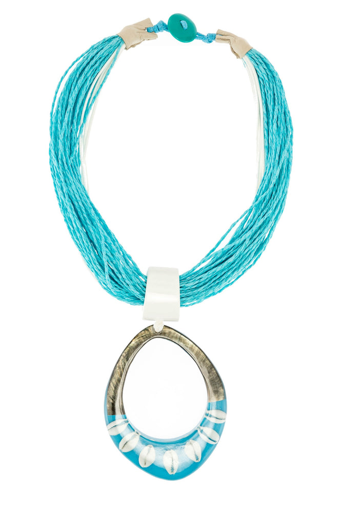 Chunky Cord Necklace With Resin Shell Pendent -  Luna Boutiques