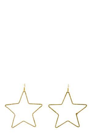 Gold Star Hoop Earrings -  Luna Boutiques