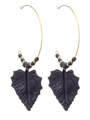 Load image into Gallery viewer, Gold & Bead Hoop Leaf Earrings -  Luna Boutiques