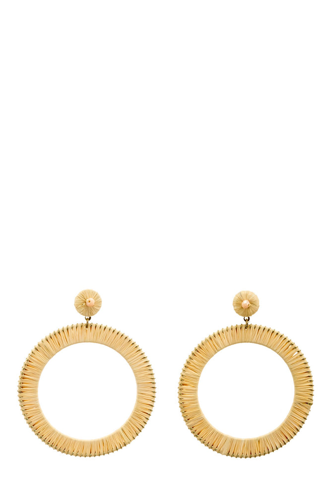 Bead Stud Natural Wired Circle Earrings -  Luna Boutiques