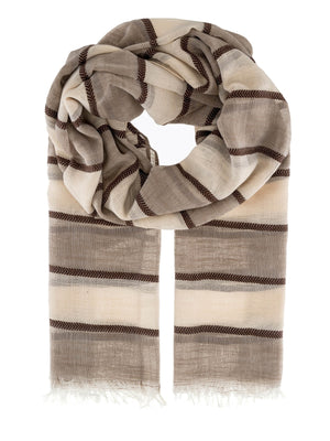 Stripe Lurex Scarf With Frayed Edging -  Luna Boutiques