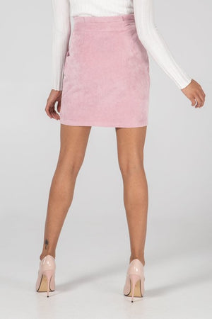 Load image into Gallery viewer, Pink Babycord Buckle Mini Skirt -  Luna Boutiques