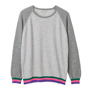 Load image into Gallery viewer, Stripe Cuff 100% Cashmere Jumper -  Luna Boutiques
