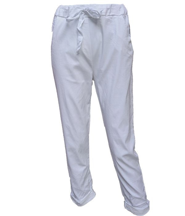 Load image into Gallery viewer, Silver Stripe Linen Jogger -  Luna Boutiques