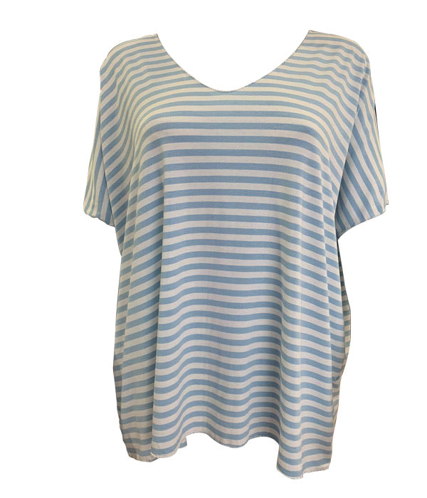 Loose Fit Stripey T With Silver Thread Trim -  Luna Boutiques