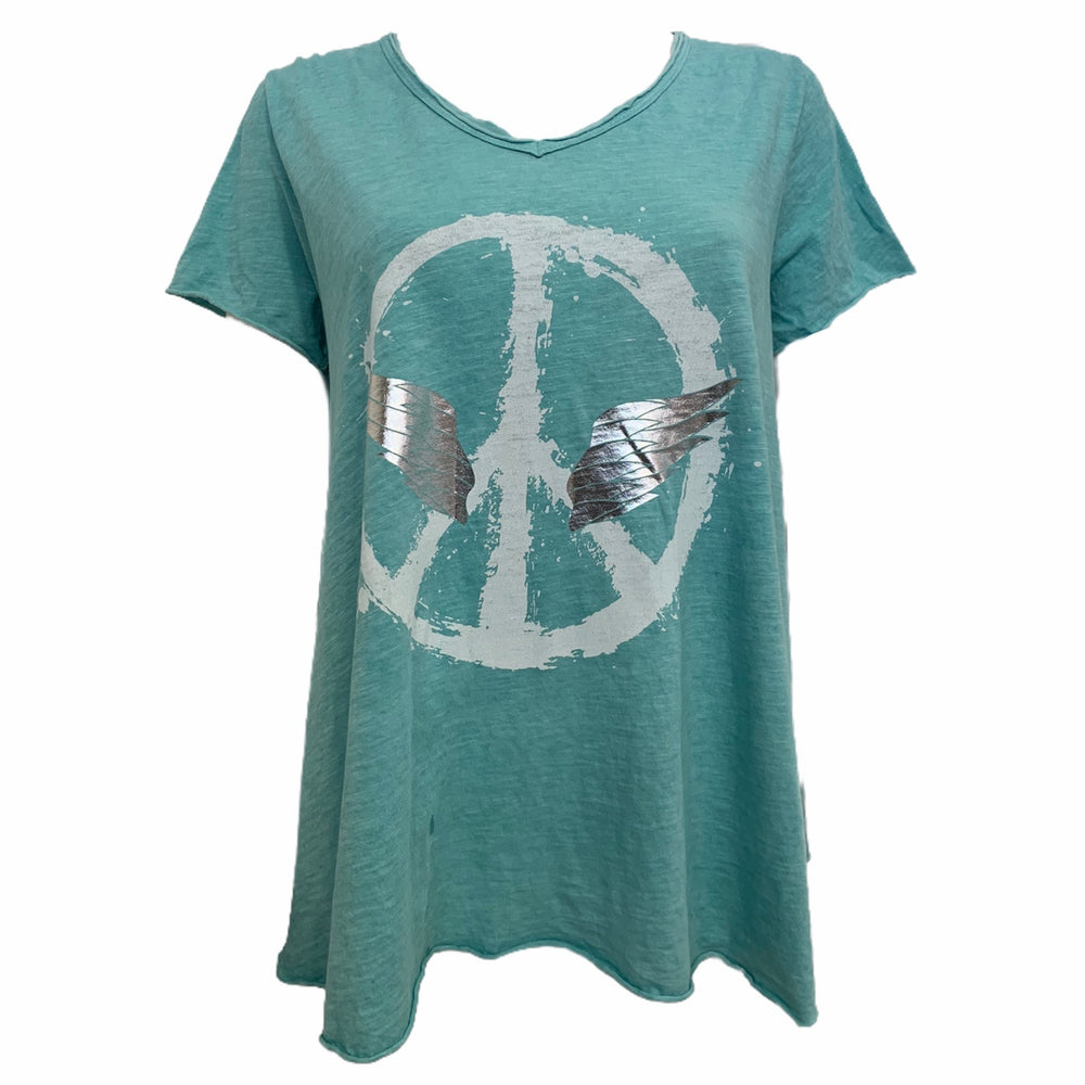 Load image into Gallery viewer, Peace Wing V Neck T-Shirt -  Luna Boutiques