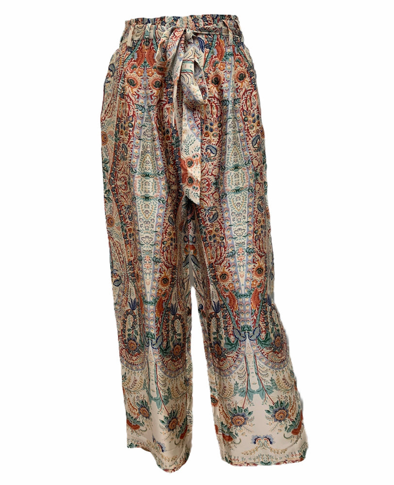 Load image into Gallery viewer, Floral Design Tie Belt Palazzo Trousers -  Luna Boutiques