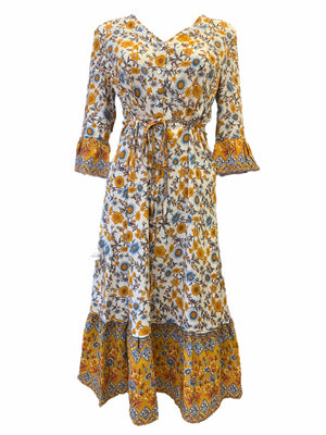 Midi Floral Tie Waist button Up Dress -  Luna Boutiques
