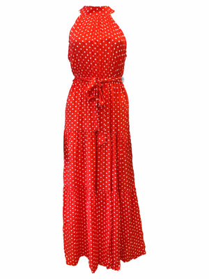 Load image into Gallery viewer, High Neck Long Polka Dot Dress -  Luna Boutiques