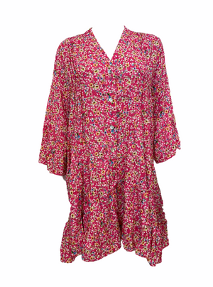 Ditsy Floral Button Up Floaty Tunic -  Luna Boutiques