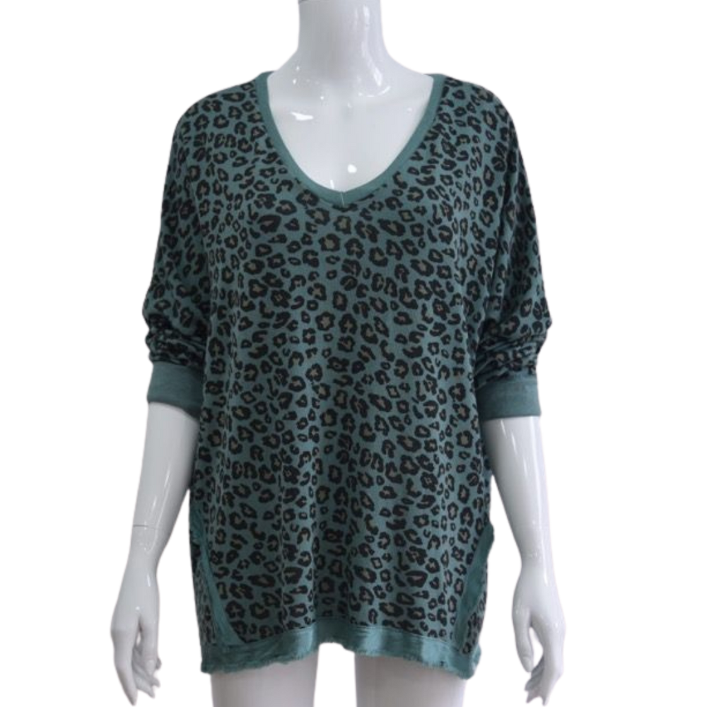 Load image into Gallery viewer, Satin Trim Leopard Print Top -  Luna Boutiques