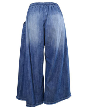 Load image into Gallery viewer, Denim Culottes with Drawstring -  Luna Boutiques